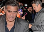 He can do no wrong! Gentlemanly George Clooney makes time for his fans after dinner in Milan with Monuments Men castmates