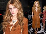 Shake It Up: Bella Thorne stands out from the crowd wearing cropped suede jumpsuit and peep toe heels at NYFW