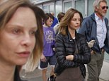 Actress Calista Flockhart goes makeup free to Laker's game with husband Harrison Ford