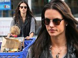 Channeling winter? Alessandra Ambrosio keeps things gloomy with grey on grey as she takes son Noah to Toys 'R Us