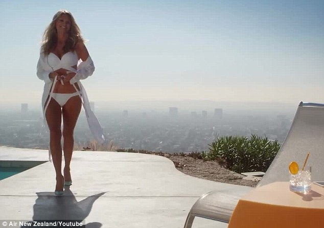 Not a bad visual: Christie Brinkley stars in an upcoming safety video by Air New Zealand, in which she shows off her toned bikini body from a Hollywood Hills mansion