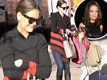 Mommy duty calls! Katie Holmes gets back to the school run in jeans and comfy sweater after chic turn at fashion show