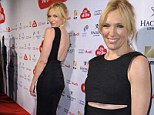 Peek-a-boo! Toni Collette flashes her midriff in backless black gown at the Swiss premiere of her new film
