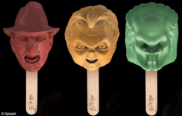 Chilling ice screams: The series of ice lollies have been modelled on infamous horror movie characters from the 1980s including Freddy Krueger, Chucky and the alien from Predator