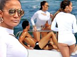 Jennifer Lopez, 44, parades perfect figure as she flirts with nearly naked men on yacht while shooting music video