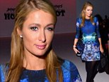 Paris Hilton dresses her slender frame in psychedelic mini-dress at New York Fashion Week