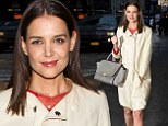 Katie Holmes parades her pins in nude Louboutins at the Marchesa runway show during NYFW