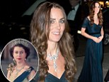 Kate adds sparkle to midnight blue gown with a diamond necklace on loan from the Queen: Tanned Duchess arrives at the National Portrait Gallery from her winter holiday with George in Mustique