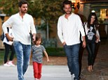 Family day out: Scott Disick enjoyed some quality family time with his boy Mason over lunch at Marmalade Cafe in Calabasas, before a date with his wife Kourtney