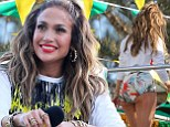 "Jennifer Lopez films a music video with Pitbull and Claudia Leite in Ft. Lauderdale, Florida for the song ""We Are One"" which will air during the World Cup in Brazi"