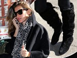 Gisele Bundchen shows off her pin-thin legs in tights and kinky boots while braving the New York chill