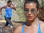 So THAT'S how she looks so good! Glee star Lea Michele shows off her impressively toned physique as she hits running trail