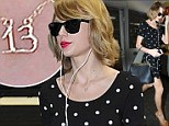 Taylor Swift sports 'lucky number 13' charm necklace as she legs it around Hollywood in polka-dot dress after European tour