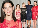 Lady in red Katie Holmes joins celeb gal pals front row at Marchesa's NYFW runway show
