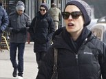 Anne Hathaway goes make-up free in quilted coat and leather trousers for day out with hubby Adam Shulman