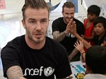 Welcome Beck! Football star David brings a smile to hundreds of faces as he returns to typhoon-ravaged Philippines for second relief visit
