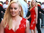 Ravishing in red! Abbie Cornish showcases cleavage in crimson lace ensemble at Jimmy Kimmel Live