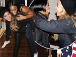 Beyonce Knowles gives BFF Kelly Rowland a piggyback as they celebrate her 33rd birthday with a fondue party in New York