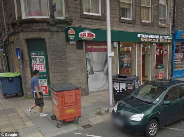 Scene: The 'monster' was spotted outside this Papa John's restaurant on Crown Street, near Leith Walk