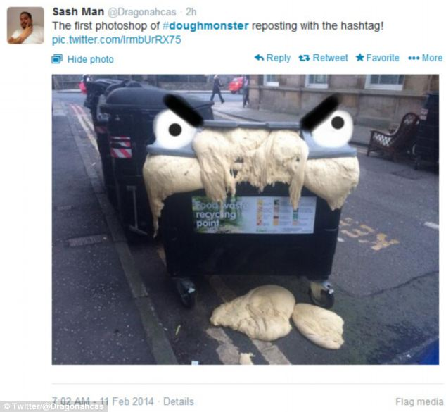 Viral: This afternoon, the photo of the 'dough monster' took Twitter by storm - with some users deciding to digitally alter the bizarre snap. Above, user @Dragonahcas posted an image featuring angry monster eyes