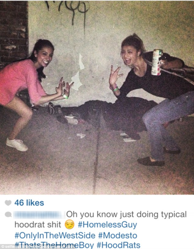 Vile: A homeless man asleep or passed out becomes a backdrop for two teenage girls