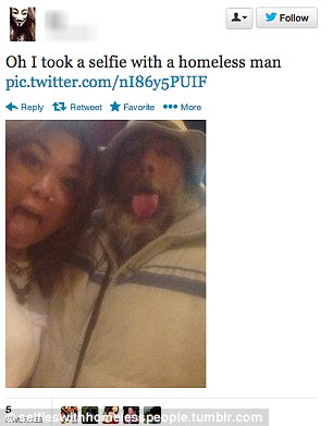 Happy snap: One of the few images where the 'homeless' person is aware their photograph is being taken
