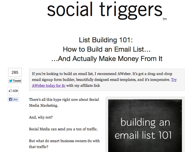 social triggers landing page