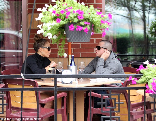 Relaxing: Earlier the pair dined alfresco as they enjoyed some quality time together