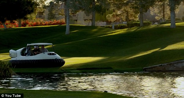 All-terrain: The hovercraft can cross all manner of terrain on the course - and do it without damaging the green