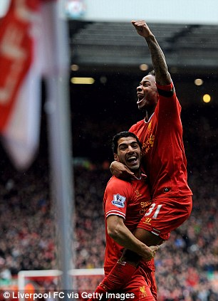 Flying high: Sterling celebrates his goal against Arsenal