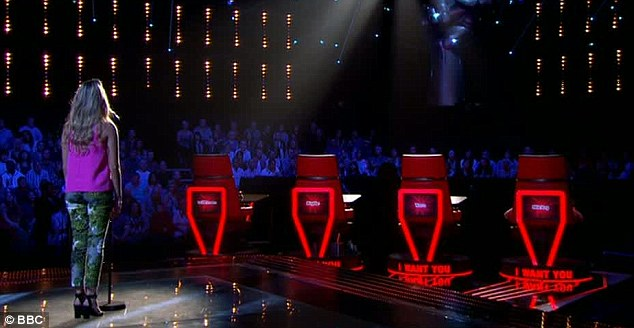 Nervous: Amelia took to the stage on Saturday harbouring dreams of making it through the blind audition