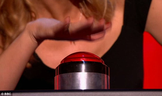 Unsure: Kylie's hand hovers over the button