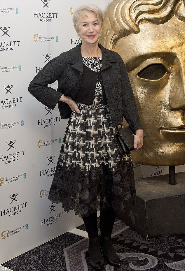 Just getting warmed up: BAFTA fellowship recipient Helen Mirren attends the Hackett BAFTA Fellow lunch at the Savoy Hotel in London on Saturday