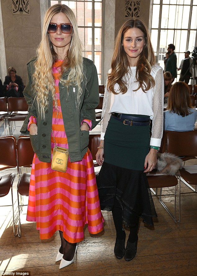 Fashion friends: Model Laura Bailey and Olivia posed for a picture together before the show began on Saturday