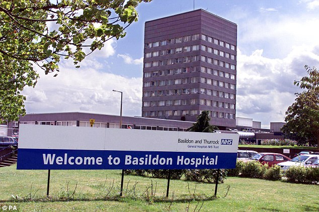 Treatment: Miss Papalabropoulos was eventually admitted to Basildon Hospital (pictured) but then had to wait four days before she was seen by a respiratory consultant