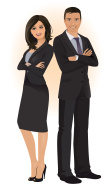 Confident business man and woman