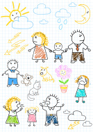 Vector drawings - conflicts within the family, parents quarrel