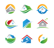 Eco house logos and icons