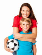 Mother and Son With Football - Isolated