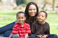young family on picnic blanket in park
