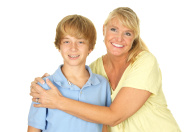 Mother and Teenage Son Smiling on White Background