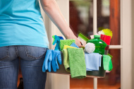 House Cleaning Service Arriving at Door of Customer's Home Hz