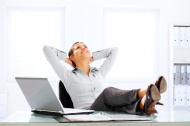 Attractive business woman are relaxing at the office.