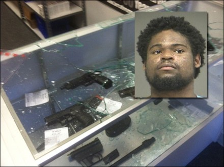 "Actual photo of the man who ""brought a bat to a gun fight"": Derrick Mosley."