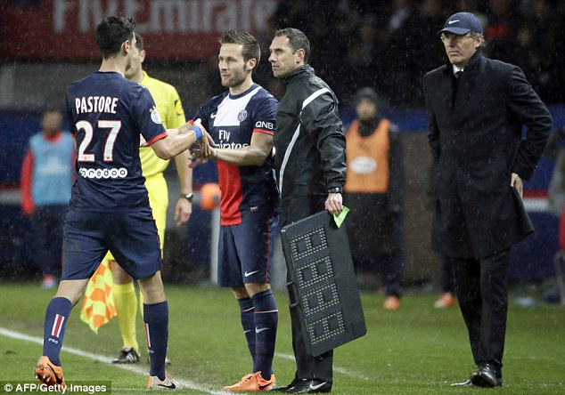 Debut: Yohan Cabaye made his first appearance for Paris Saint-Germain since his move from Newcastle