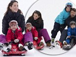 Family fun: The Danish royals are all smiles on a ski trip to Switzerland this month