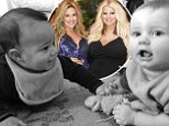 Tiny tots: Jessica Simpson shared a photo of her son and best friend CaCee Cobb's son on Saturday, with the caption 'BFF's in the making! @caceecobb #ACEANDROCCO'
