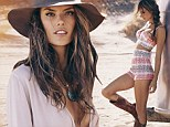 Her own best advert! Alessandra Ambrosio displays enviable figure in designs from her new clothing range, including plunging dress and tiny shorts