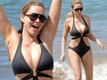 Former Miss USA Shanna Moakler bares her post-liposuction body in a skimpy monokini while frolicking on the beach in Hawaii