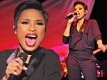 Singing in style: Jennifer Hudson donned a chic black onesie as she performed at the 11th Annual Black History Month Celebration at the DuDable Museum in Chicago, Illinois on Sunday